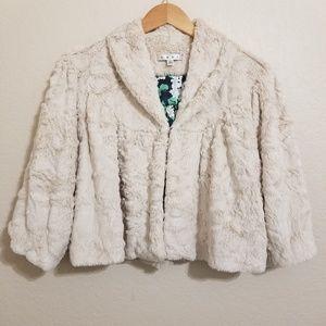 Cabi Ivory Faux Fur Cropped Cardigan Jacket L